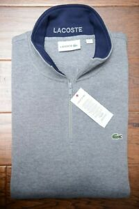 Lacoste SH1462 Men's 1/4 Zip Mock Neck Gray 100% Cotton Sweat Sweater 3XL 8