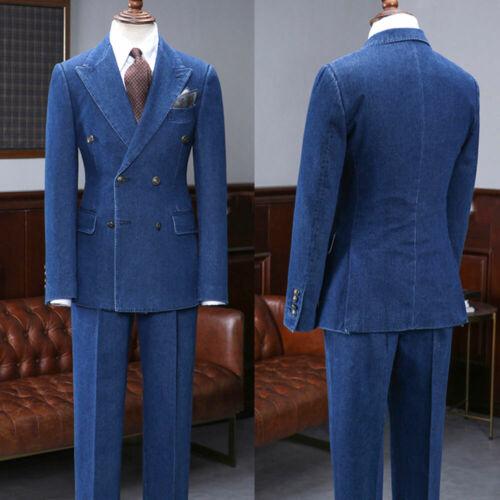 Men/'s Denim Blue Suits Two Pieces Double-breasted Six Button Peak Lapel Suits