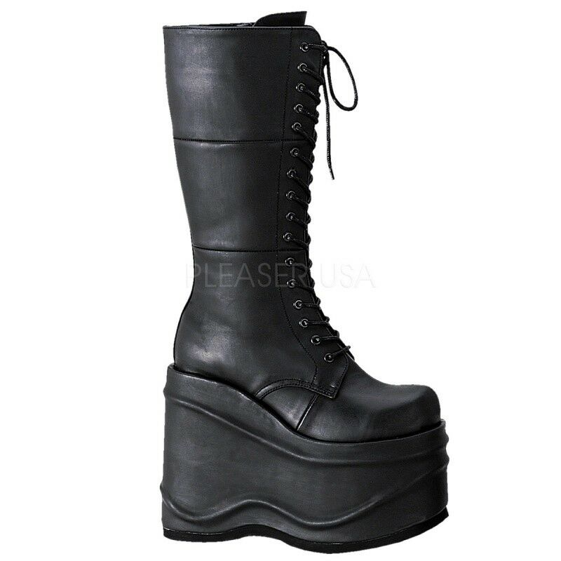 Grunge Gothik Schwarz Plateau Stiefel WAVE 302 Punk DEMONIA