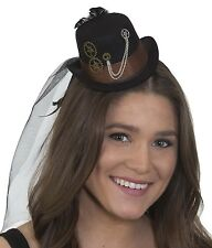 Heart Of Darkness Women Black Steam Punk Victorian Top Hat With Black Veil