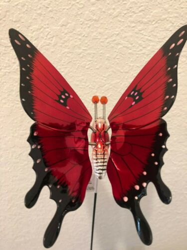 GARDEN STAKE Windy Wings Pastel and RED Polkadot Butterfly  7-Inch NEW