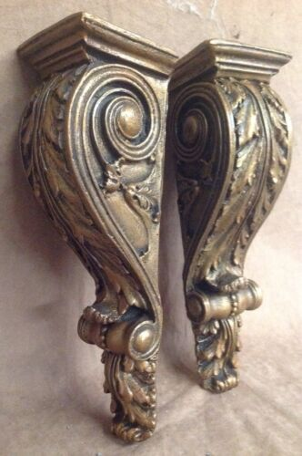 Shelf Acanthus leaf Wall Corbel Sconce Bracket Home Decor Pair Bronze Finish