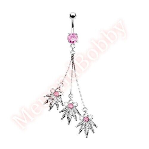 Pink CZ Pot Leaf Belly Bar Navel Ring Dangle Body Piercing Jewellery