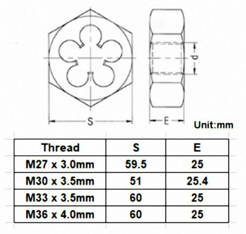 DORL/_A M36 Metric Right Hand Thread Hex Die Select Size M25