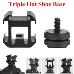 Triple-Head-Hot-Shoe-Mount-Adapter-Bracket-Flash-Holder-Converter-Camera-Tools