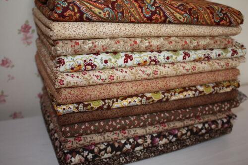 Nuevo 12 PC Paquete de algodón marrón tela joblot mixto Craft Scraps