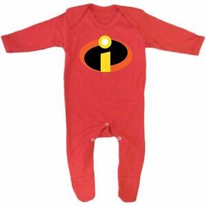 72fd2d8a05c Red Incredibles super hero logo costume Baby Grow Romper Sleep Suit ...
