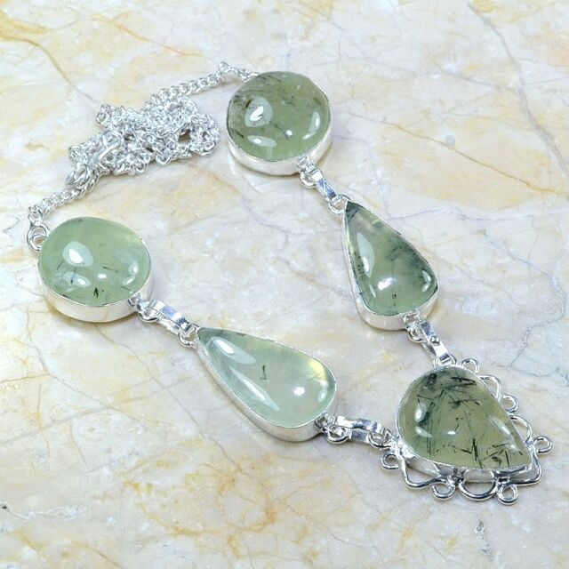 "BEAUTIFUL UNIQUE PREHNITE SILVER NECKLACE 19 1/2"" FREE SHIPPING!"