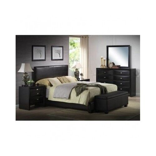 Platform Queen Size Bed Upholstered Black Leather Headboard Bedroom  Furniture