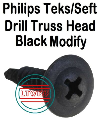 #8 x 3//4/'/' Phillips Teks//Self Drill Screw Black Modify 100