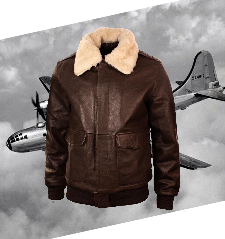 New männer Bomber A-2 Genuine leder Fur halsband Pilot Flying jacke braun jacke