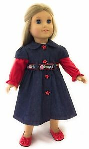 """Denim Dress with Red Sleeves /& Belt made for 18/"""" American Girl Doll Clothes"""