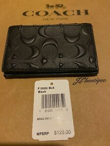 NWT-128-Coach-12023-Bifold-Card-Case-In-Signature-Leather-Black