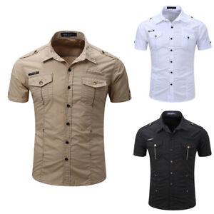 LC-HK-Moda-Uomo-Outdoor-slim-fit-manica-corta-con-risvolto-colletto
