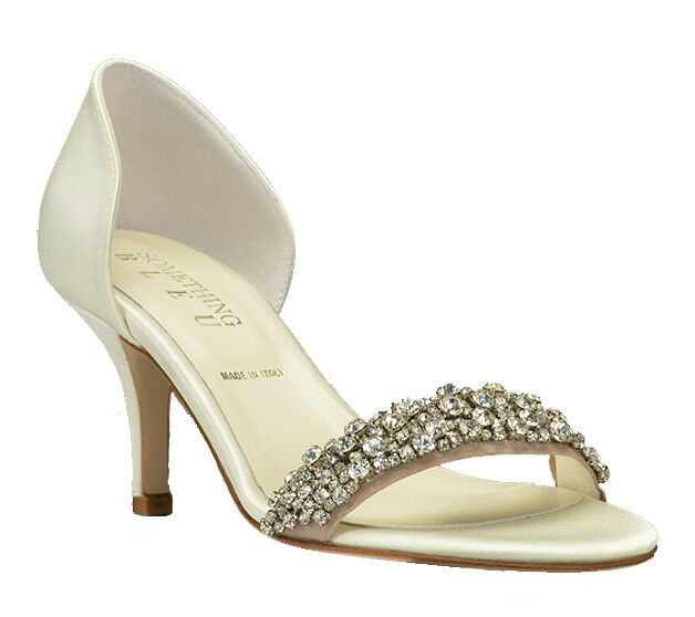 280 BHLDN Something Bleu Mia Wedding Heels Embellished Pump Bridal Schuhe Ivory 6