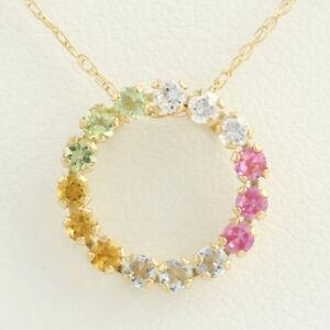 NEW-Gemstone-amp-CZ-Eternity-Circle-Pendant-18-034-Necklace-10k-Yellow-Gold-0-63ctw