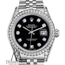 Ladies Black Rolex 26mm Datejust Steel SS Jubilee Bracelet Custom Diamonds Watch