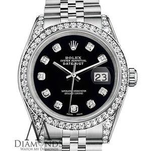 Donna Colore Nero Rolex 31mm Datejust Giubileo Argento Sterling Bracciale Personalizzato Diamanti Orologio
