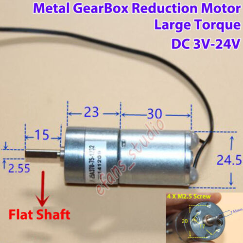 DC 3V-24V 12V 114RPM High Torque Full Metal Gearbox Gear Motor Robot Smart Car