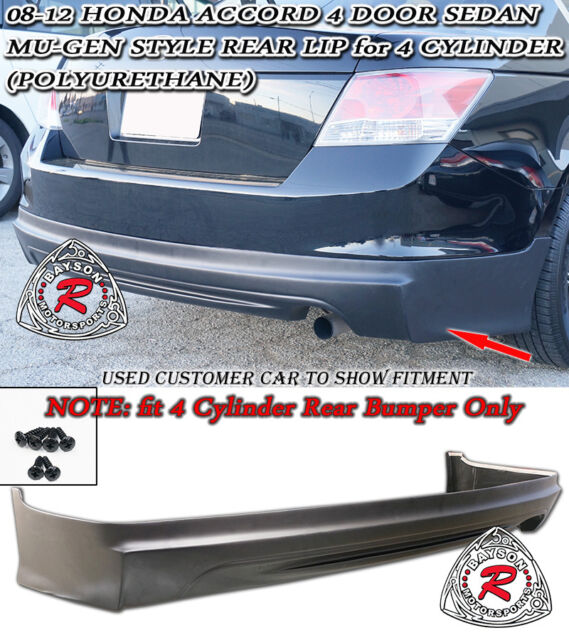 Mu-gen Style Rear Lip (PU) fit 08-12 Accord 4dr I4 [4 Cylinder Rear Bumper ONLY]