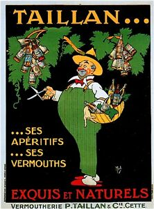 1900's French Taillan Vermouths Food Wine Advertisement Art Vintage Poster Print