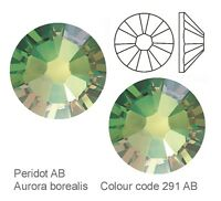 PERIDOT AB SWAROVSKI CRYSTALS FOILED FLAT-BACK *NEW ENHANCED 2058*