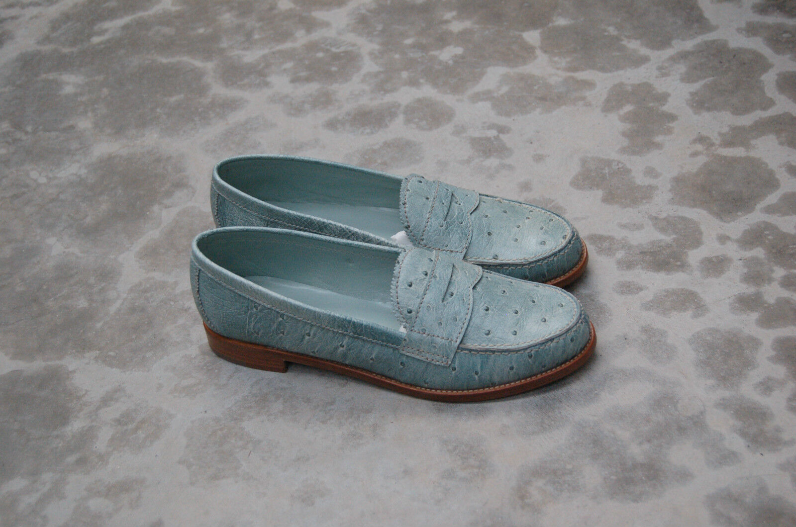 WOMAN LOAFER - 36½ - PENNY LOAFER WOMAN - GENUINE LIGHT blau OSTRICH - LEATHER SOLE 1cc08f