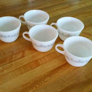 5 Ribbon Bouquet Flat Cups Milk Glass Pyrex Corning Gray Floral