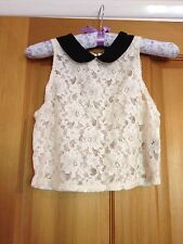 Very Pretty Top shop cream Lace with Pixie black collar, Size 8. Gorgeous