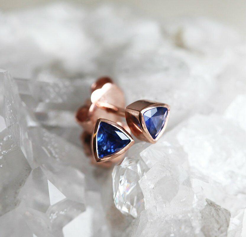 2ct Trillion Cut bluee Sapphire Bezel Solitaire Stud Earrings 14k pinkgold Finish