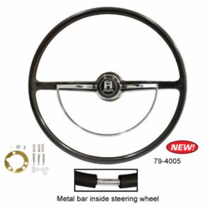 Ghia Type-3 1962-1971 Stock VW Design Replacement Black Steering Wheel Kit T-1