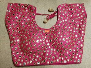 Dark-Pink-Mirror-work-Indian-Blouse-Choli-Top-Dupion-Saree-Bollywood-Belly-Dance