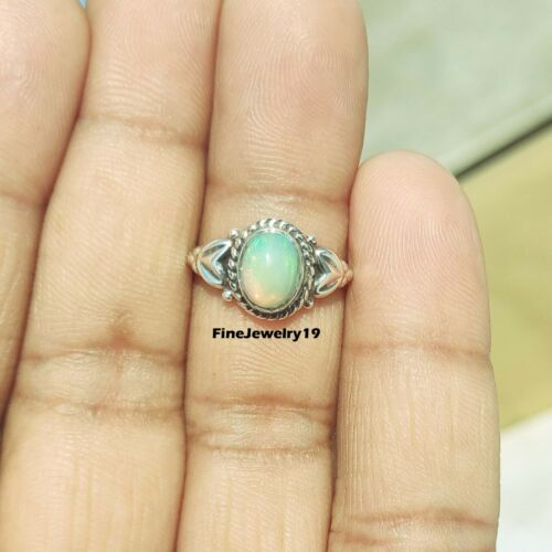 Opal Gemstone Ring 925 Sterling Silver Band Ring Statement Handmade Jewelry A431