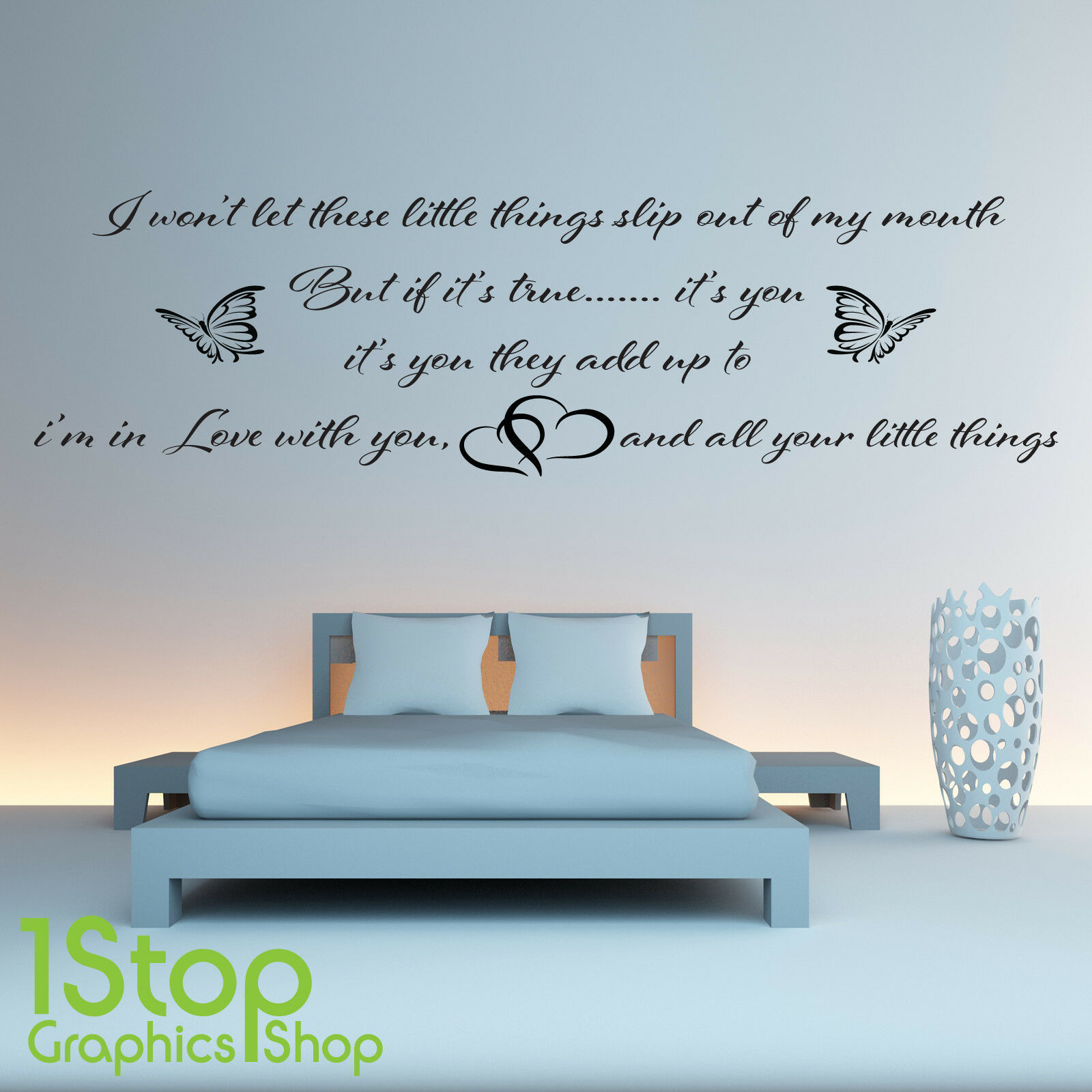 One Direction Wall Sticker Quote Bedroom Harry Styles Wall Art Decal X229