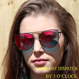 d1fc140436c Image is loading Luxury-Oversized-Celebrity-RED-Mirrored-Cat-Eye-Designer-