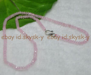 Fine-2x4mm-Pink-Jade-Faceted-Roundel-Gems-Beads-Necklace-Silver-Clasp-AAA