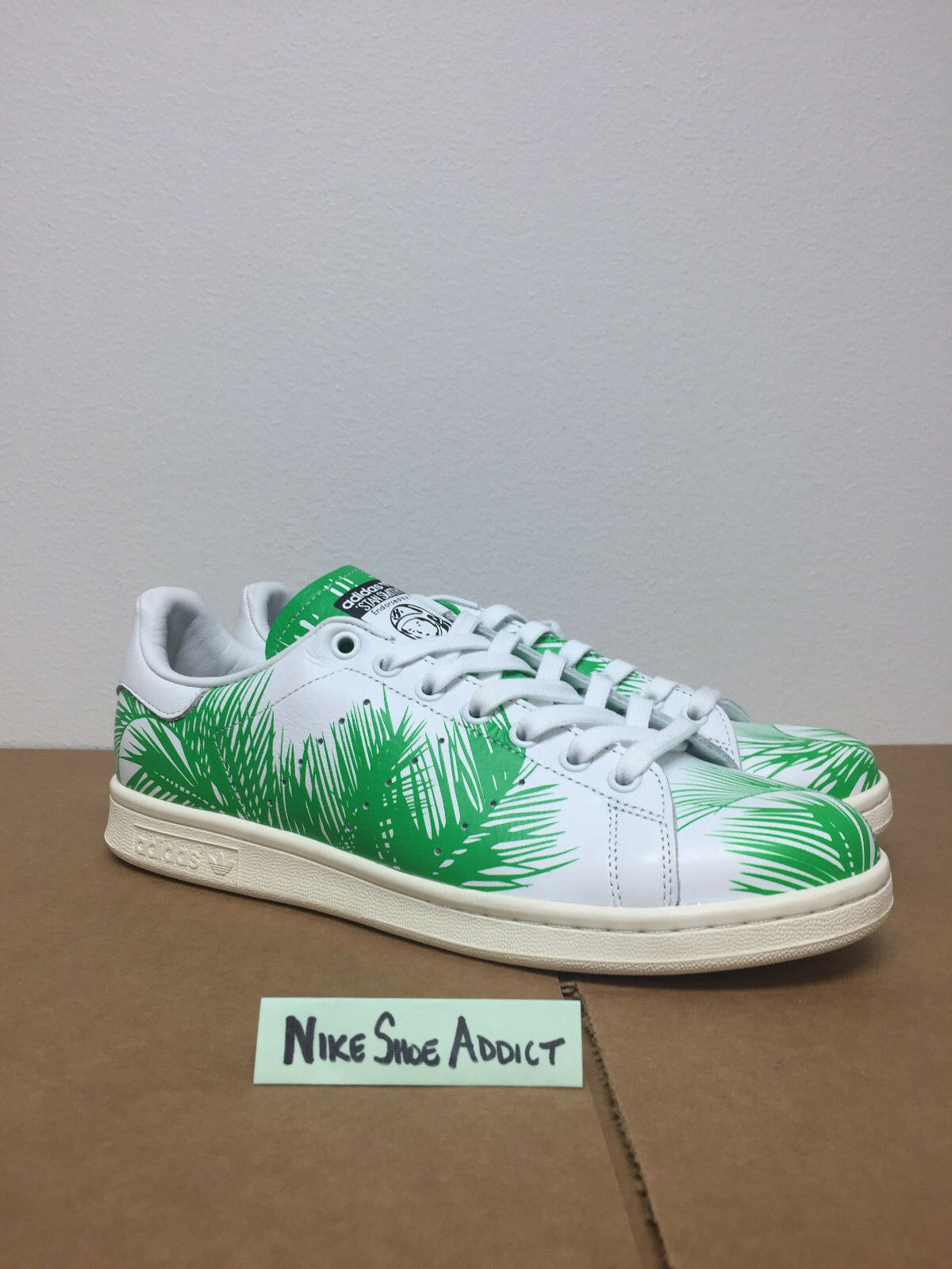 40d6ca905 Adidas Stan Smith PW Pharrell Williams BBC White Green Palm Trees S82071  nmd durable modeling