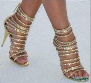 Womens Sexy Gold Strappy High Heels