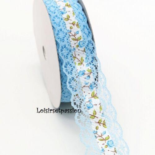 28 mm Dentelle Festonnée et Galon Fleur Liberty centré Vendu au mètre D58