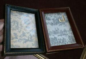2 cadre porte-photos vintage cuir verre & fond papier jouy - Création JEANCELLE