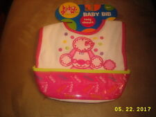 Kids2grow baby bib easy closure Pink French Poodle with catchall pocket 1 pc NEW