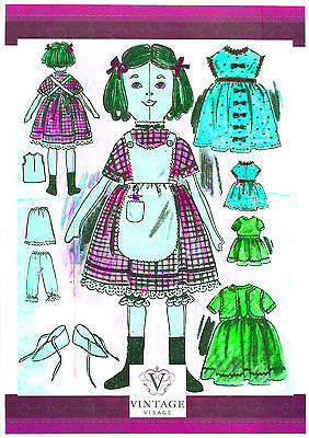 """Mini Victorian Rag Doll & Clothes sewing pattern- full size paper pieces-8"""" tall"""