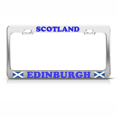 LOVE SCOTLAND SCOTTISH FLAG Chrome Heavy Duty Metal KING License Plate Frame