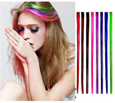 """New 24"""" Colored Colorful Clip On In Hair Extension Fake Custom"""