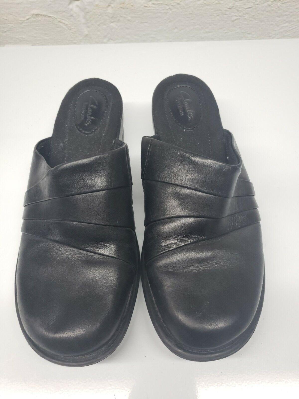 Clarks Artisan Womens Leather Slip On Comfort Black Clogs Size US 8 W