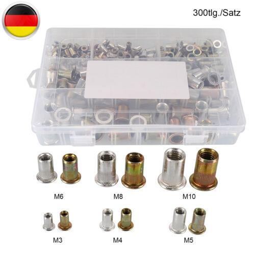 Nietmuttern-Sortiment SetVerzinkt Stahl / Alu300-tlg.M3 M4 M5 M6 M8 M10