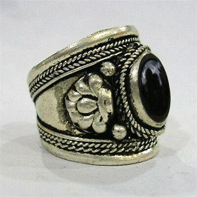 Big Adjustable Tibetan Silver Plated Oval Onyx Gemstone Carved Dorje Amulet Ring