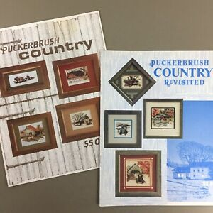 Lot-of-2-Puckerbrush-Country-amp-Revisited-Nostalgic-Cross-Stitch-Chart-Booklets