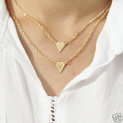 Women Simple Silver/Golden Plated Triangle Statement Jewelry Chain Necklace