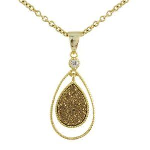 Gold-Tone-Sterling-Silver-Single-Teardrop-Brown-Druzy-Necklace-Pendant